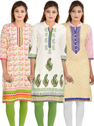 Pack of 3 Cotton Jaipuri Printed Kurtis - By Manukunj