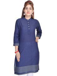 Shop Rajasthan 100% Pure Cotton Printed Kurti - Blue - SRE2270
