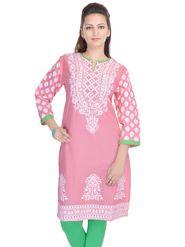 Shop Rajasthan 100% Pure Cotton Printed Kurti - Pink - SRE2297
