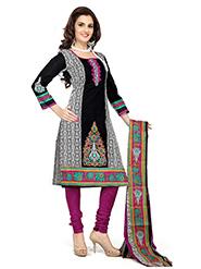 Silkbazar Printed Cotton Dress Material - Black & Magenta