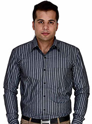 Velgo Club Stripes Regular Fit Cotton Casual Full Sleeves Shirt for Men - Grey & Black