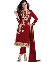 Thankar Semi Stitched  Chanderi Cotton Embroidery Dress Material Tas290-5307E