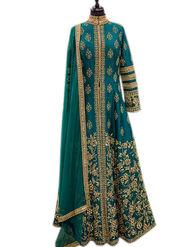Thankar Zari Embroidered & Mirror Work Banglori Silk Semi Stitched Anarkali Suit -Tas389-8131Ab