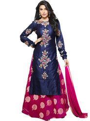 Thankar Thread & Zari Embroidered Glace Cotton Semi Stitched Straight Suit & Indo-Western -Tas427-2448
