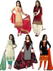 Combo of 5 Thankar Printed Designer Dress material