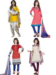 Combo Of 4 Thankar Printed Poly Cotton Unstitched Dress Material -thn01