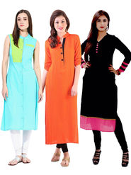 Combo Of 3 Thankar Solid Semi Stitched Straight Kurti - thk-05