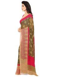 Triveni Printed Art Silk Green Saree -tsb09