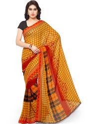 Triveni Printed Art Silk Yellow Saree -tsb02