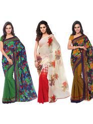 Combo of 3 Triveni Faux Georgette Printed Saree -Tsco55