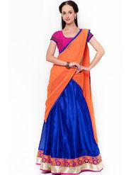 Triveni Trendy Blue Art Silk Semi Stitched Lehenga Choli_Ts13253
