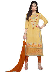 Triveni's Blended Cotton Embroidered Dress Material -TSMDESK1063