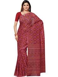 Triveni Printed Cotton Magenta Saree -tsb55