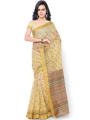Triveni Printed Blended Cotton Beige Saree -tsb32