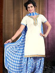 Viva N Diva Cotton Lace Work Embellished Unstitched Suit Tanaz-114