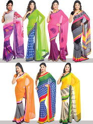 Rainbow Collection Of 7 Designer Printed Sarees (7G18)