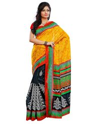 Triveni sarees Art Silk Printed Saree - Black - TSRIMB555BA