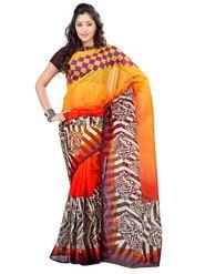 Triveni sarees Supernet Printed Saree - Yellow - TSKCRN12804B