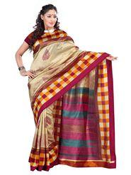 Triveni sarees Art Silk Printed Saree - Beige - TSKCMK12814B