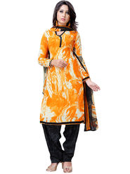 Triveni Faux Georgette Printed Dress Material - Yellow - TSHCSSK6719D