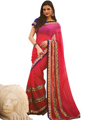 Triveni Faux Georgette Border Worked Saree - Pink - TSN58009