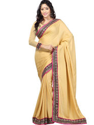 Triveni Crape,Jacquard Border Worked Saree - Beige - TSSF9204