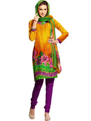 Triveni Blended Cotton Printed Dress Material - Orange - TSSTVDSK5011