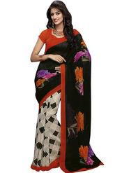 Triveni sarees Bhagalpuri Khadi Silk Printed Saree - Black