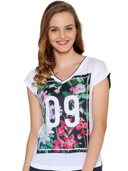 Unshackled Printed Polyester White T-Shirt -dfv06