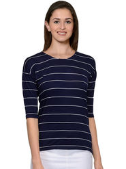 Unshackled Stripe Viscsoe Navy Blue T-Shirt -dfv02