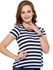 Unshackled Stripe Viscose Navy Blue T-Shirt -dfv11