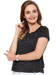 Unshackled Stripe Viscose Black T-Shirt -dfv13