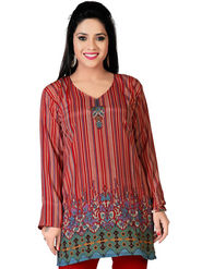 Variation Faux Crepe Printed Kurti - Multicolor - VD15092