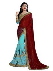 Khushali Fashion Embroidered Georgette Half & Half Saree_KF16