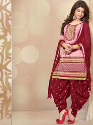 Viva N Diva Cambric Cotton Embroidered Dress Material - Pink - 1007