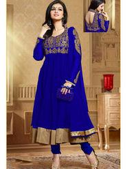 Viva N Diva Soft Net Embroidered Unstitched Anarkali Suit - Blue