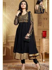 Viva N Diva Soft Net Embroidered Unstitched Anarkali Suit - Black