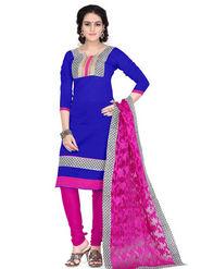 Viva N Diva Chanderi Cotton Embroidered Dress Material - Blue