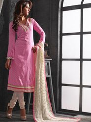 Viva N Diva Chanderi Cotton Embroidered Dress Material - Light Pink