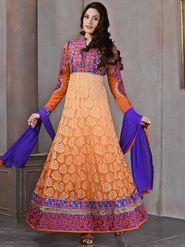Viva N Diva Brasso Embroidered Dress Material - Orange