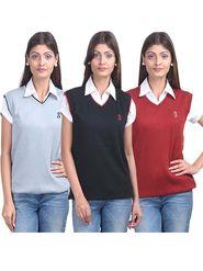 Pack of 3 Eprilla Spun Cotton Plain Sleeveless Sweaters -eprl20