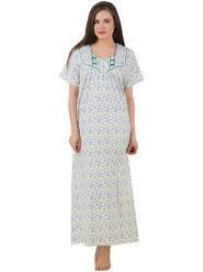 Fasense Cotton Floral Print Nightwear Long Nighty -YT021C1