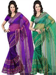 Combo of 2 Bhuwal Fashion Plain Polyster Silk Designer Saree -bhl19