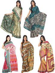 Pack of 5 Florence Printed Art Silk Saree -fs13
