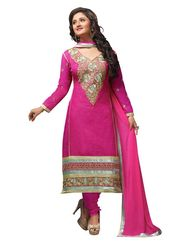 Khushali Fashion Cotton Embroidered Dress Material - Pink - D29001
