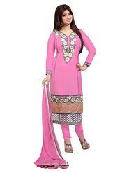 Khushali Fashion Glaze Cotton Embroidered Dress Material - Pink - LVM2005
