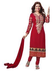 Khushali Fashion Net Embroidered Dress Material - Red - MJ5007