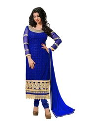 Khushali Fashion Georgette Embroidered Dress Material - Blue - tarzen02