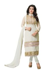 Khushali Fashion Georgette Embroidered Dress Material - White - tarzen06