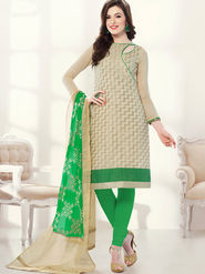 Viva N Diva Chanderi Jacqaurd Embroidered Dress Material - Beige - Color-Blossom-1004